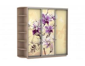 Базис Цветы 3-х створчатый шкаф-купе 1800 мм | 2000 мм